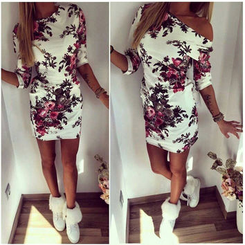White Floral print One Off Shoulder Sheath Dress