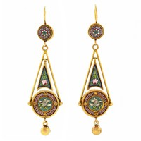 Antique Micromosaic in Gold Chandelier Earrings