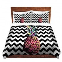DiaNoche Designs Unique Decorative Designer Duvet Covers and Shams | Organic Saturation's Party Pineapple Chevron