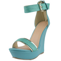 Womens Platform Sandals Two Tone Single Strap High Heel Dress Shoes Green SZ