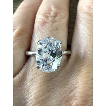 SAMPLE SALE  9CT Oval Cut Russian Lab Diamond Engagement Ring Size 7