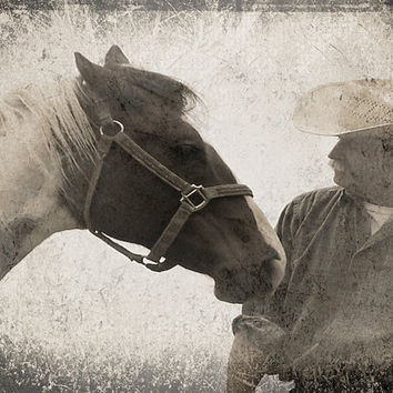 "Horse Art, Cowboy, Black and White Photography, Friends  8 x 10  ""Horse and Cowboy"" by Eahkee"