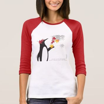Penguin and Maple Leaves Fall Season Funny Cool T-Shirt