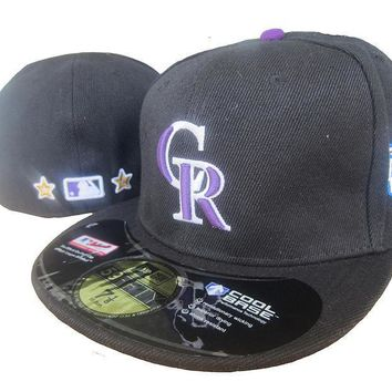 ESBON Colorado Rockies Cool Base 59FIFTY MLB Cap All-Star Patch Black