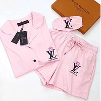 LV Louis Vuitton X Peppa Pig Stylish Women Cute Casual Shorts Robe Sleepwear Loungewear Set Two-Piece Pink I12927-1