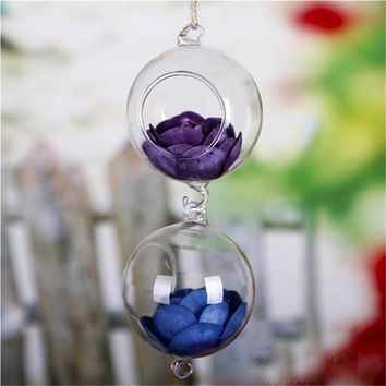 Clear Ball Glass Hanging Vase Terrarium Glass Containers Planter Flower Vase Transparent DIY Home Garden Wedding Decoration