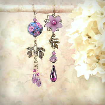 Sweet Profusion Asymmetrical Earrings, Purple Violet Lavender Fuchsia Earrings, Shabby Chic Flower Earrings, Garden Wedding Dangle Earrings,