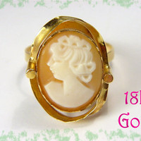 18K Gold ~ Carved Shell Cameo Flowing Ribbon Art Nouveau Estate Ring