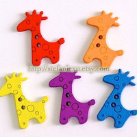 Wooden Buttons, Painted Color - Colorful Giraffe (5 in a set)