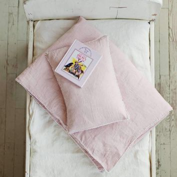 Baby Girl Bedding Set: Duvet Cover & Toddler Pillowcase in Pink Washed Linen