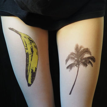 banana, palm, banana tattoo, palm tattoo, tights