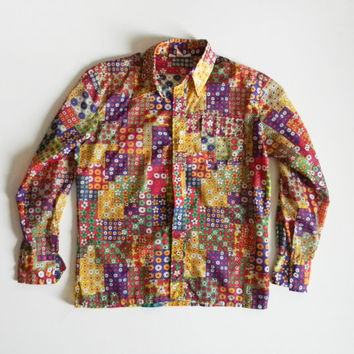 Groovy Vintage 1960s Flower Power Mens Button Down Shirt - Mens Size Large