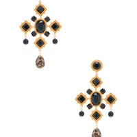Dolce & Gabbana Black Cross Earring in Gold | FWRD