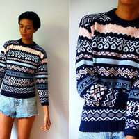 Vtg Tribal Winter Pattern Navy Pink Blue Knitted Sweater