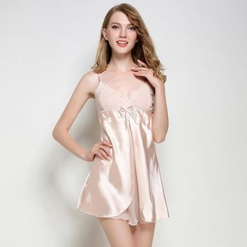 Women Lace Mini Nightdress Soft Satin Spaghetti Strap Nightgown Chiffon Sleepwear Sexy Silky Split Nightwear Negligee M L XL