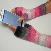 Hand Knit Fingerless Mitts, Fingerless Gloves, Texting Gloves, Hand Warmers in Pink, White and Grey, Gift for Her, Mothers Day Gift