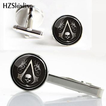 HZShinling CT--0019 New Assassin's creed Clips Cufflinks set Skull Symbol Assassin's Cuff link Silver Glass Photo Tie Clip Gifts