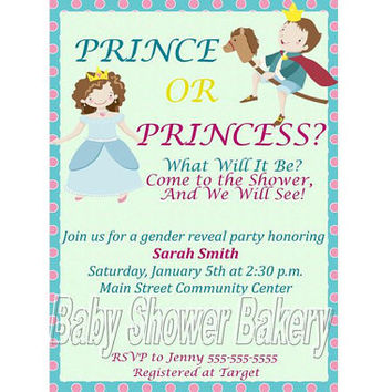 Gender Reveal Invitation, Gender Reveal Baby Shower Invitation, Gender Reveal Party Invitation, Prince or Princess Gender Reveal