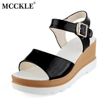 MCCKLE Women Shoes Flat Platform Sandals Gladiator Patent Leather Sandals Thick Bottom Casual Shoes Woman Wedges Sandals