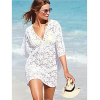 V Word Collar Loose Form Hollow Flower Hook Solid Color Lace Shirt Bathing Suit Cover Ups Bikini OVERTREK beach shirt women