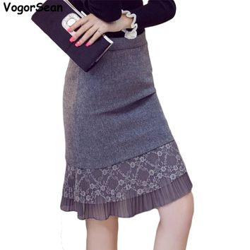 VogorSean New Women Evening Party Spring Autumn Skirt Black Ruffles Celebrity Knee Length Mermaid Bodycon Sexy Pencil Skirts OL