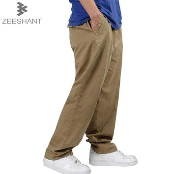 Plus Size XXXXXXL Combat Casual Cotton Loose Long Straight Trousers Workout Style Multi Pocket Cargo Pants in Men's Casual Pants