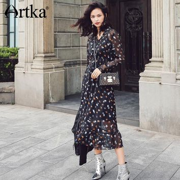 ARTKA 2018 New City Series Summer Vintage Floral Pattern PrintV neck Mid-Length Dress JL17009
