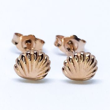 14k Rose Gold Layered on Sterling Silver Seashell Earrings