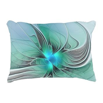 Abstract With Blue, Modern Fractal Art Decorative Pillow