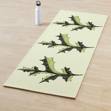 Decorative Oak Leaf With Tattoos Yoga Mat