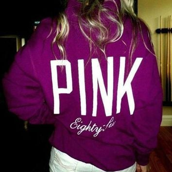 CREYUP0 pink victoria s secret pattern letter print zipper v neck hoodie top blouse sweatshirt pullover sweater