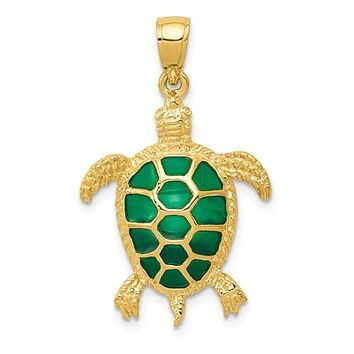 14K Yellow Gold Gorgeous Green Turtle Necklace Charm