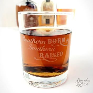 Southern Born & Southern Raised Engraved Cocktail Glass Set