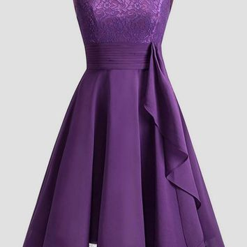 38f8bca22a Purple Patchwork Lace Pleated Round Neck Homecoming Party Wedding Bridemaid  Prom Elegant Midi Dress