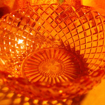 Pink Depression Glass Waterford/Waffle Large Berry Bowl Hockling