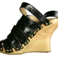 Vintage Shellys of London Black Patent Leather Straps High Wooden Wedge Metal Studs Fetish Sandals Mint Condition size 7 (UK)/40 (EU)/9 (US)