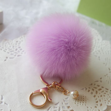 daad1eb7be53 Hot Fur Pom Pom Key Chain Fluffy Keychain Chaveiro Keychain Faux Rabbit  Hair Bulb Bag Car
