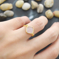 SALE10%) E-013 Ice Pink Glass ring, Gold Frame ring, Chain ring, Simple ring, Modern ring, Gold plated ring/Everyday/Gift/