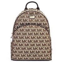 $348 NWT MICHAEL KORS Abbey LARGE Java Backpack MK Print Jacquard Leather Bag