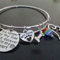 Pet Loss bracelet, Dog, Cat, No longer by my side but forever in heart Memorial