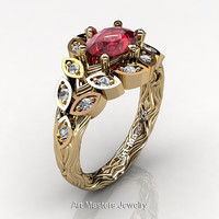 Art Masters Nature Inspired 14K Yellow Gold 1.0 Ct Oval Ruby Diamond Leaf and Vine Solitaire Ring R267-14KYGDR