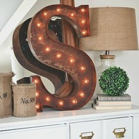 "24"" Letter S Lighted Vintage Marquee Letters (Rustic)"