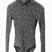 Dark Gray Turtleneck Mixed Cable Knitted Bodysuit