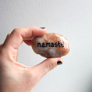 Namaste Word Stones Zen Garden Stones - Hand Painted Rock Inspiring Quote - Meditation Polished Rock Yoga Decor Buddhist Garden Accessories