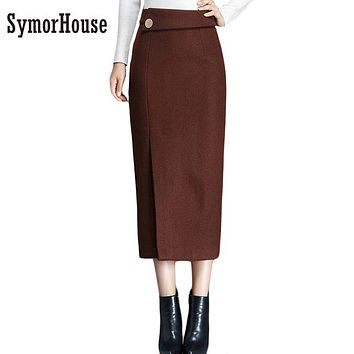 New Vintage Long Skirts For Women Autumn Winter New Open Split Slim Thick Warm Pencil Skirts 2017 Wool Woolen Skirt Female