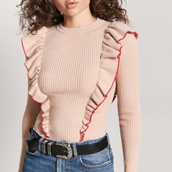 Ribbed Ruffle Top