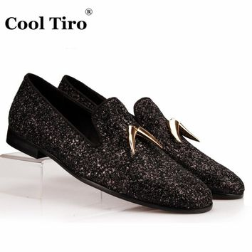 COOL TIRO Black Glistening Glitter Men Loafers Gold Shark Tooth Tassel Slippers Smoking Mens Dress Shoes Flats Genuine Leather