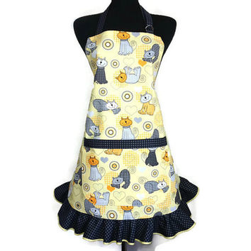 Retro Kitchen Apron for Women , Cartoon Cats on Yellow with Grey Ruffle