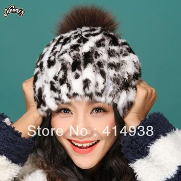 100% guaranteed lovely lady's real rex rabbit fur hat cap skullies beanies with fox fur ball decoration