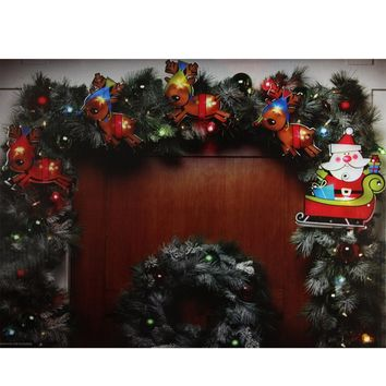 8' Shimmering Santa Claus & Reindeer Christmas Light Garland with 10 Clear Mini Lights - White Wire